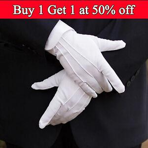 White Formal Gloves Tuxedo Guard Parade Santa Inspection Fancy Dress Adult UK