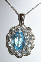 GENUINE SWISS BLUE & WHITE TOPAZ 10.07CTW PENDANT NECKLACE STERLING SILVER