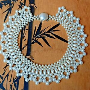 Vintage Faux Pearl Collar Necklace Statement Box Clasp Retro Costume Jewellery