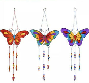 Butterfly Sun catcher wind chime hanging window garden stained glass gift purple