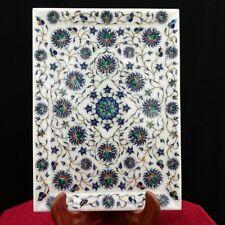 "Marble Tray plate Marquetry 11""X15"" Mosaic Inlay Semi Precious  malachite art"