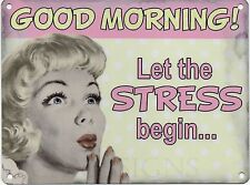 Good Morning Stress, Funny Retro Vintage Girl Women Gift, Small Metal/Tin Sign