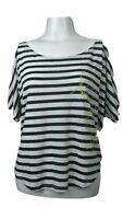 Volcom Womens Black & White Striped Short Sleeve Top Size XS