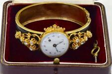 ONE OF A KIND antique 14k gold,diamonds&enamel bracelet watch.Verge Fusee. C1800