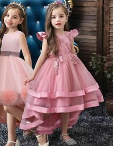 Kids Girl Wedding Dress Princess Tutu Flower O Neck Knee Length Polyester Cotton
