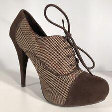 Plataforma de encaje sexy de dunas de Marrón Tacones Zapatos Tweed País FET para mujer 38EU 5UK