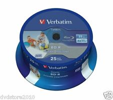 25 BD -R Verbatim Print 43811 Stampabili 25GB 6X BluRay Cakebox Printable Vuoti