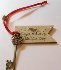 SANTA'S MAGIC KEY Vigilia di Natale di tradizione Chiave Oro antico vero legno TAG