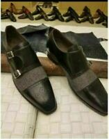 Handmade Men's Black Leather Heart Medallion Double Monkstrap Shoes