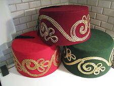 ADULT RED  FEZ WITH TASSLE, AUTHENTIC TURKISH FES, TARBOOSH,OTTOMAN HAT FES