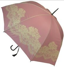 Boutique Vintage Pink and Cream Lace Walking Length Stick Umbrella Wedding Bride