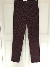 BODEN, SIZE 6. DEEP PURPLE AND JADE PATTERNED SMART TROUSERS. NEW, WITH TAGS