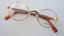 Free Land runde Brille gold Bügel Hornoptik für Damen Herren unisex neu size S