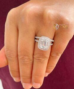 14K WHITE GOLD EMERALD FOREVER ONE MOISSANITE DIAMOND ENGAGEMENT RING BAND 2.75