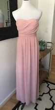 Lulus Peach Pink Strapless Tube Top Bridesmaid Formal Maxi Dress Small Party