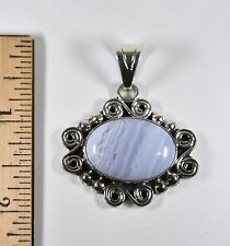 """LACE BLUE AGATE ARTISAN 2"""" PENDANT Sterling Silver 925 14.89gr NEW"""
