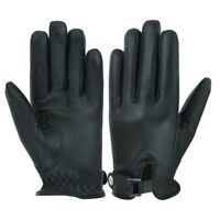 MENS DRIVING GLOVES UNLINED BUCKLE SOFT GENUINE REAL LEATHER GOATSKIN BLACK