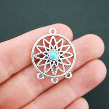 2 Dreamcatcher Connector Charms Antique Silver Tone and Faux Turquoise - SC4943