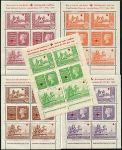 GB 1940 CENTENARY PHILATELIC EXHIBITION 5 SHEETS of 6 LABELS RED CROSS WATERLOW