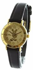 Disney Micky Mouse Gold Tone With Black Band Mu2611