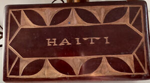 Vintage Hand Carved Haitian Trinket Box w/ Tribal Head Figures