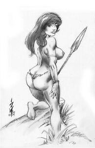 SEXY VAMPIRELLA CASTLE OF DRACULA CULT HORROR JUNGLE GIRL ORIGINAL ART 3 BURCHAM