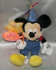 "DISNEY STORE Plush Beanie 8"" PARTY MICKEY MOUSE w/Overalls & Balloons Sewn Eyes"