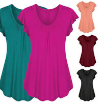 S-6XL Women Ruffle Chiffon Short Sleeve Tops Summer Beach Casual Loose T shirt