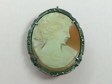 VINTAGE ITALIAN SILVER MARCASITE & HAND CARVED CAMEO PENDANT BROOCH PIN 1950