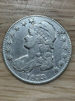 1833 Capped Bust, Letter Edge Half Dollar - Details, 5/10/21, Free Shipping