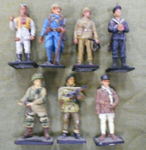 #D457.  SEVEN(7)  DEL PRADO MILITARY RELATED  65mm  METAL TOY  FIGURES