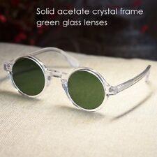 Retro round green sunglasses johnny depp clear glasses mens green glass lens