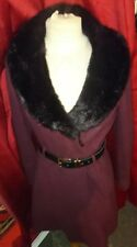 MISS SELFRIDGE FUR COLLAR FIT & FLARE SKATER SKIRTED COAT RED BLACK BELT SIZE 10