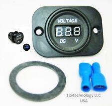 12V 24V DC Blue Voltmeter Digital Battery Monitor Tester Minder Panel Mount