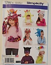 Simplicity Child Novelty Animal Hat Mittens Sewing Pattern 1292 S-L UNCUT