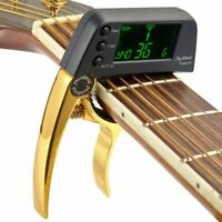 Guitar Capo Tuner LCD for Acoustic Folk Electric Guitar Bass Gold Color