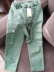 Nwt Boys Boden Pants Pull-on Elastic Waist Cotton Green Chino 5Y