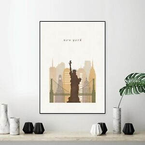 New York City Print Glossy Canvas Wall Poster Travel Decoration Home Size A4 UK