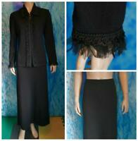 St. John Collection Knits Black Jacket Skirt L 10 12 2pc Suit Fringes Trims