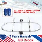11inch Stainless Steel Folding Fender Holder Inflatable Boat Fender Double Rack
