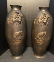 VINTAGE LARGE PAIR OF JAPANESE BRONZE METAL MACAQUES MONKEY VASES,MAGNIFICENT