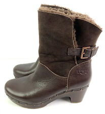 UGG Womens Boots 9 Amoret Brown Leather Shearling Fold over Slip On Shoe EU 40