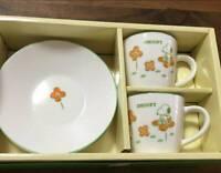 kanesho Snoopy Peanuts Mag cup saucer set flower Floral Pattern set w/box Japan