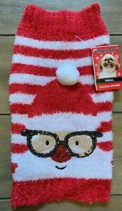 "Santa Fuzzy Dog Sweater - MEDIUM - ""Ugly"" - Christmas - Sequins - SimplyDog NWT"
