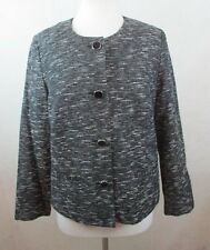 JM COLLECTION WOMENS 12P PL CAREER JACKET BLACK&GRAY LINED RAYON&WOOL BLEND NICE