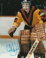VINTAGE GLEN HANLON SIGNED VANCOUVER CANUCKS GOALIE 8x10 PHOTO! Autograph