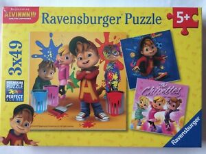 Brand New Ravensburger 3x49 Large Piece Jigsaw Puzzles - ALVIN AND THE CHIPMUNKS