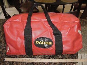 Vintage Dacor Medium  Red Scuba Free Dive Duffel Gear Bag For Fins Mask BCD