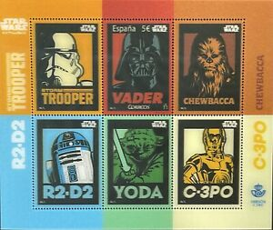 SPAIN STAR WARS 3D STAMPS 2017 MNH DARTH VADER SCI-FI YODA R2-DS 3-CPO CHEWBACCA