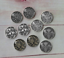 10PCS 12mm Image Glass Cabochon Vintage pattern Cameo Cabs Glass Dome A11